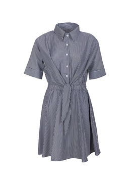 Ericdress Gingham Tie Front Polo Neck A-Line Dress