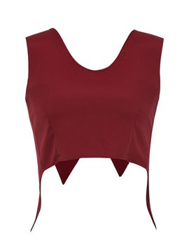 Plain Solid Color Bowknot Women's Tank Top