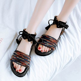 Ericdress Color Block Lace-Up Ankle Strap Flat Sandals
