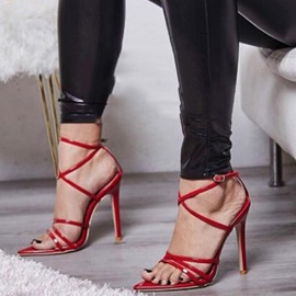 Ericdress Plain Buckle Strappy Stiletto Sandals