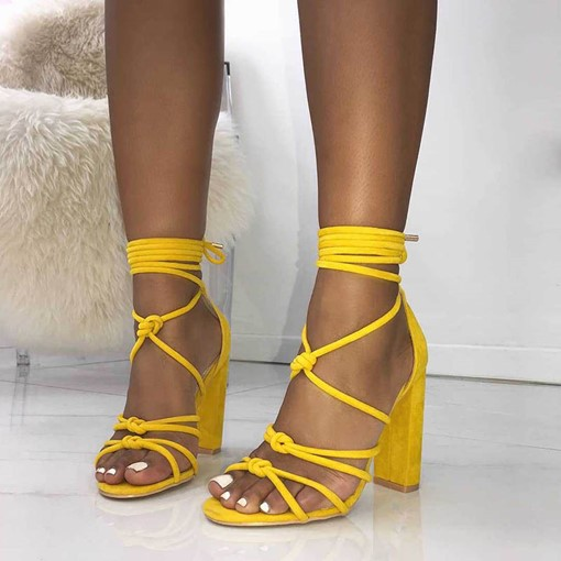 Ericdress Strappy Lace-Up Heel Covering Chunky Sandals