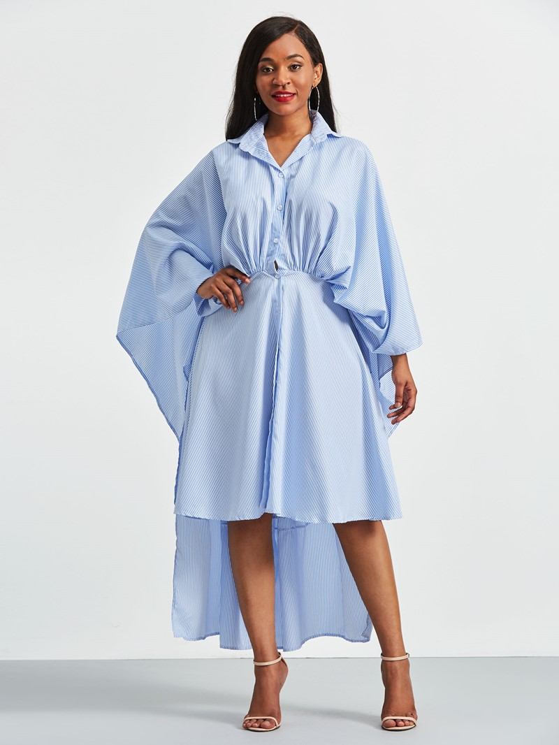 Ericdress Asymmetrical Batwing Sleeves Shirt Dress