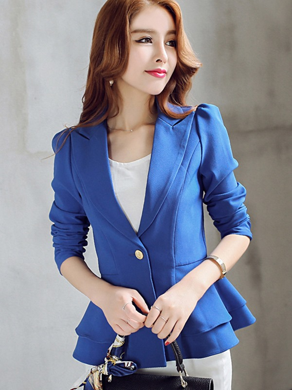 Ericdress Womens One Button Plain Slim Blazer