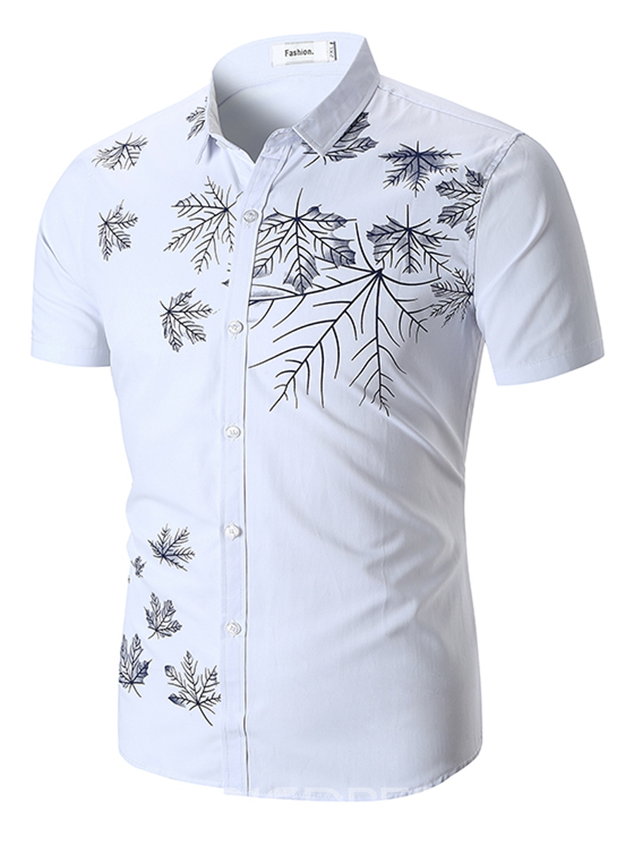 Ericdress Leaf Printed Lapel Slim Fit Mens Short Sleeve Shirt