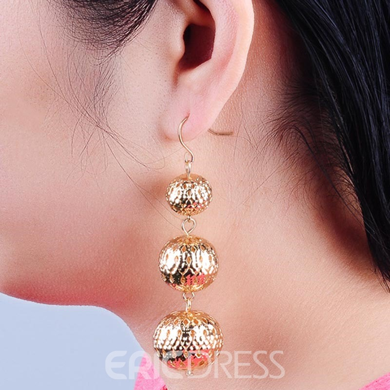 Ericdress Carved Hollow Out Beads Drop Earring