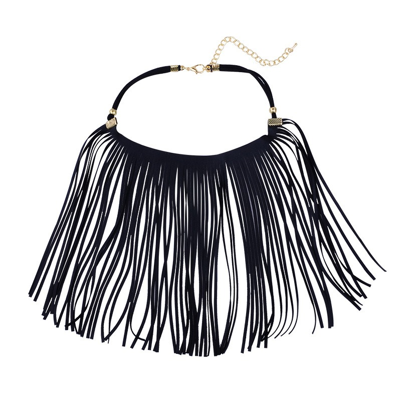 Ericdress Leather Tassels Choker Necklace