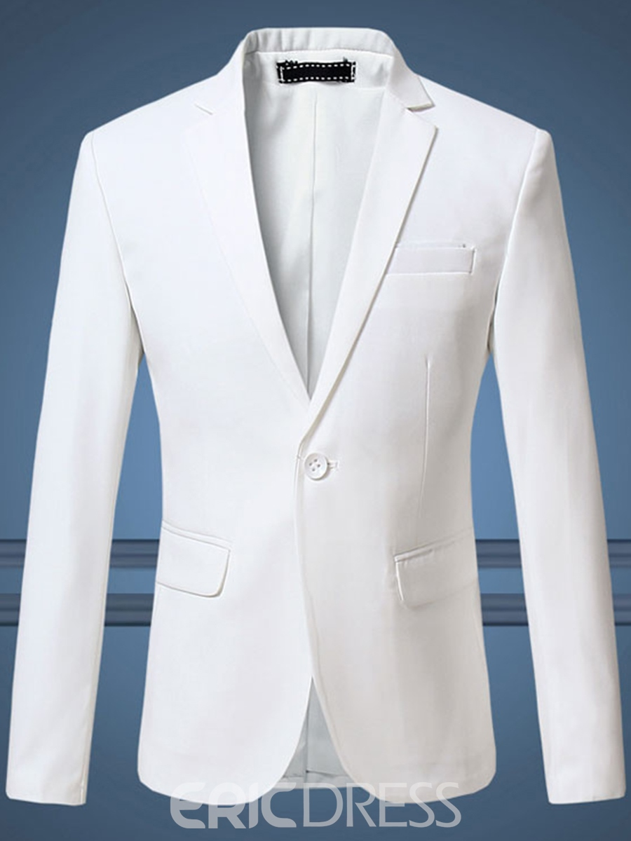Ericdress Plain Plus Size One Button Notched Lapel Mens Blazer