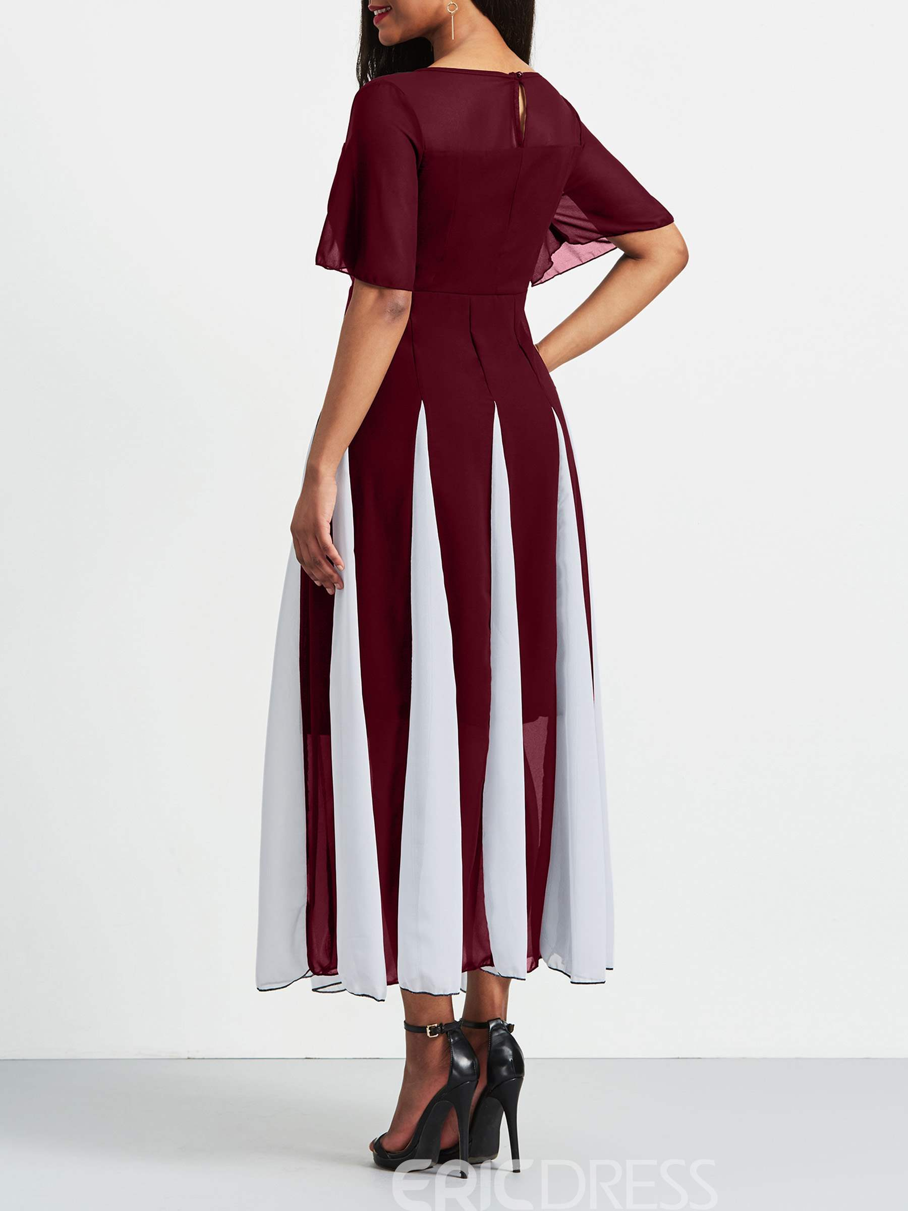 Ericdress Burgundy Color Block Patchwork Pullover Casual Dress