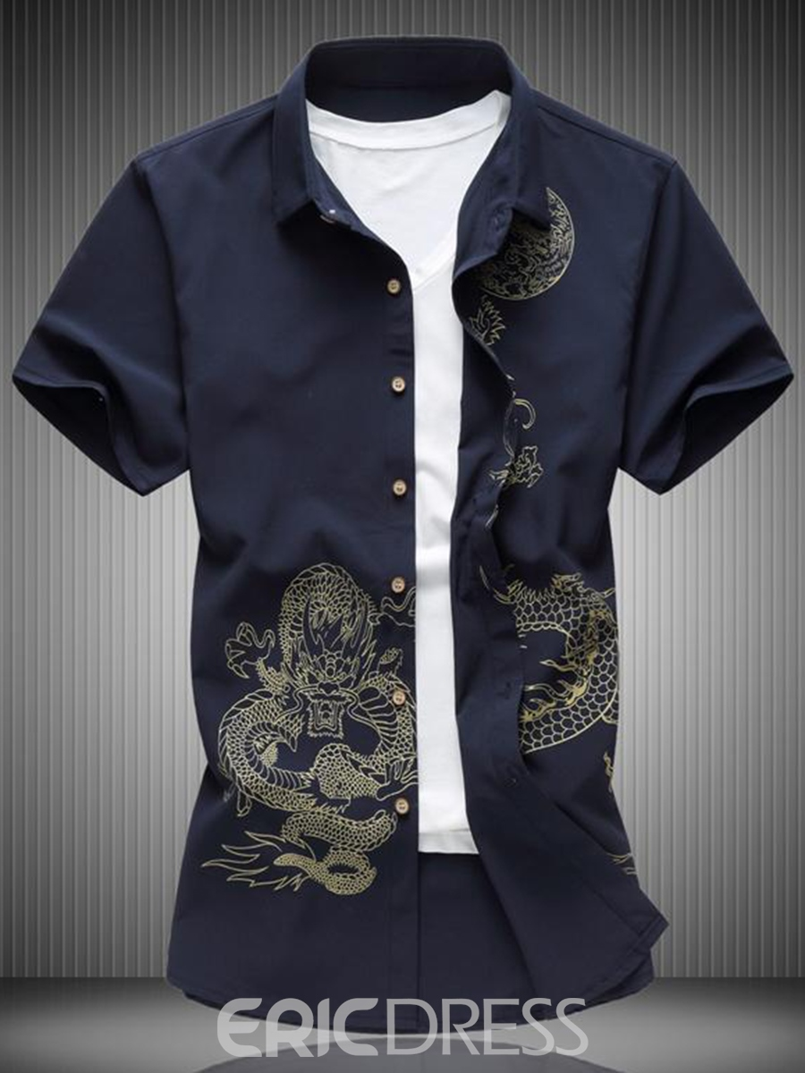 Ericdress Dragon Printed Plus Size Mens Loose Short Sleeve Shirts