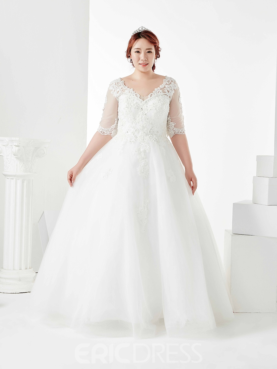 Ericdress Ball Gown Appliques Beading Plus Size Wedding Dress
