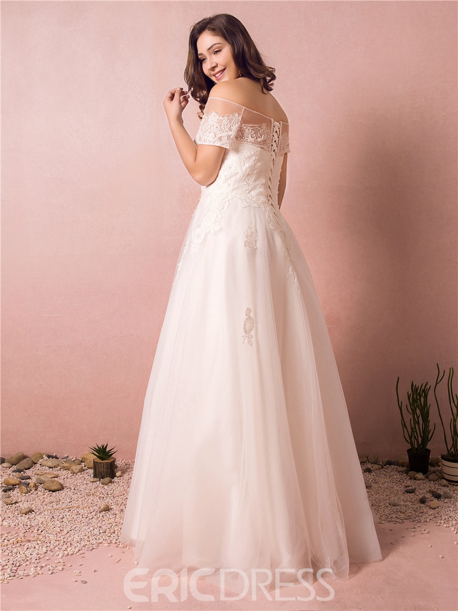 Ericdress Off the Shoulder Appliques Beading Plus Size Wedding Dress