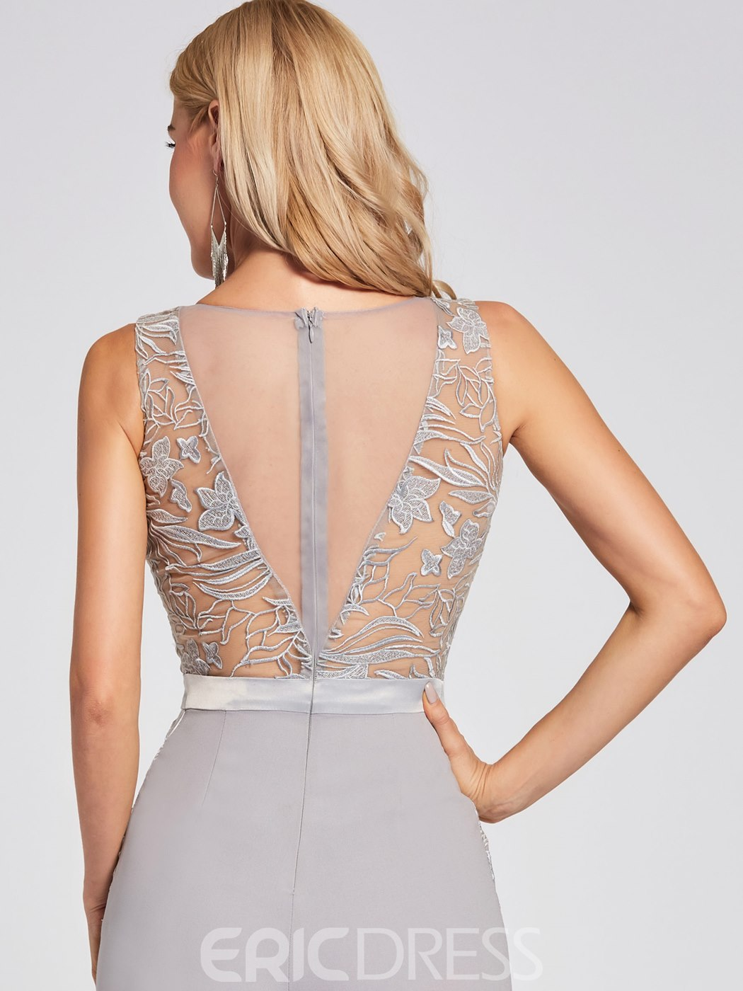 Ericdress V Neck Zipper-Up Lace Appliques Prom Jumpsuit