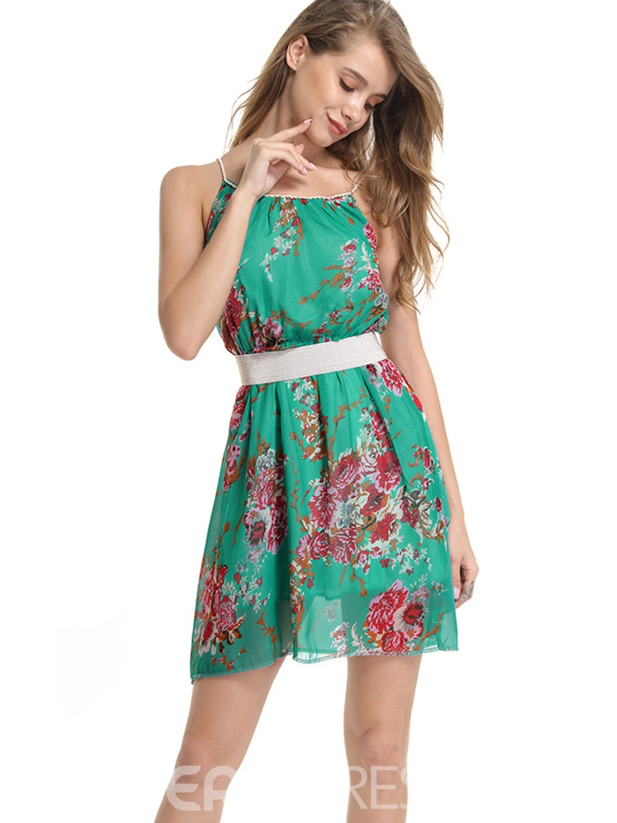 Ericdress Green Floral Pullover A-Line Dress