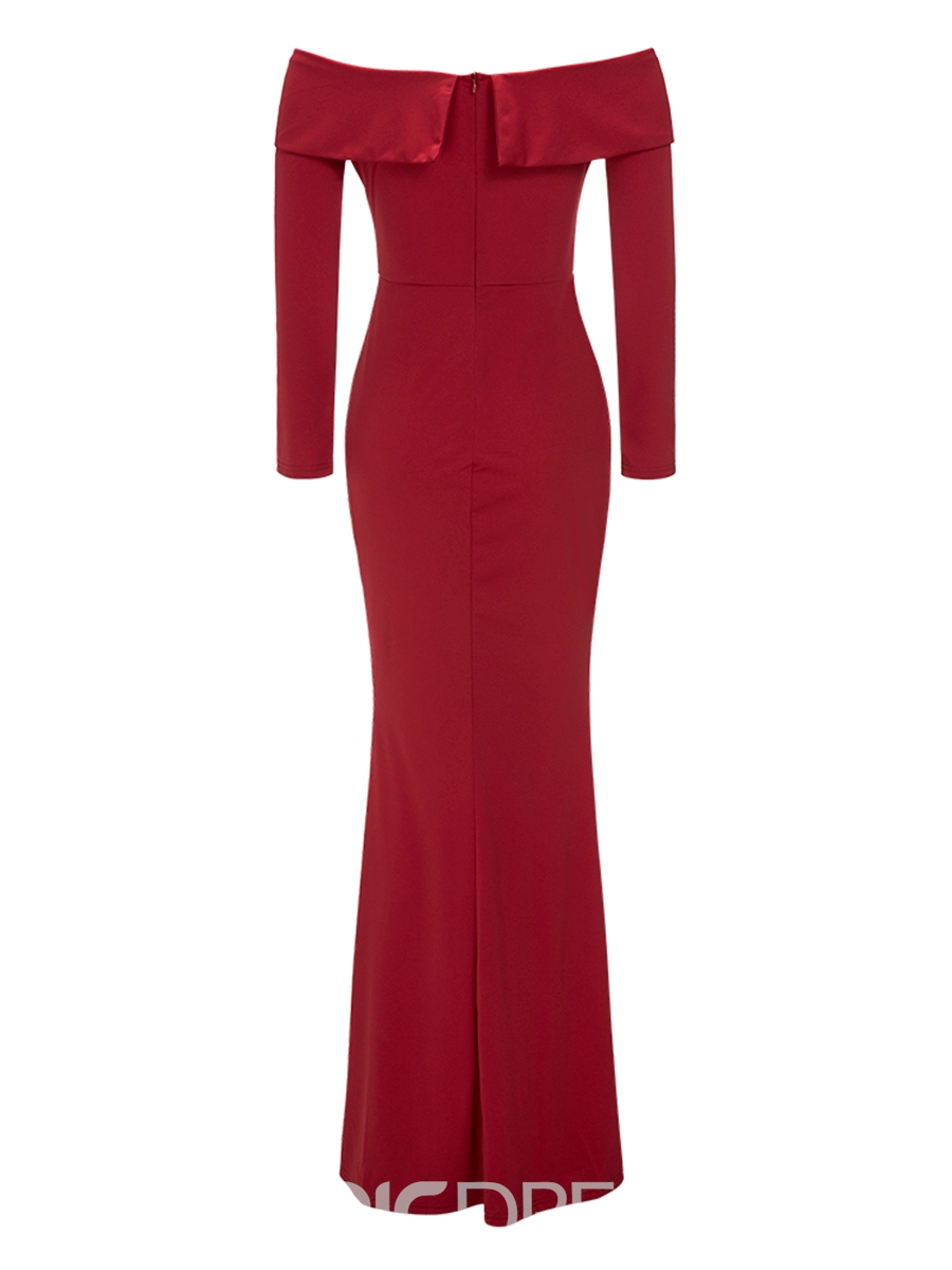 Ericdress Red Slash Neck Mermaid Pleated Sheath Dress