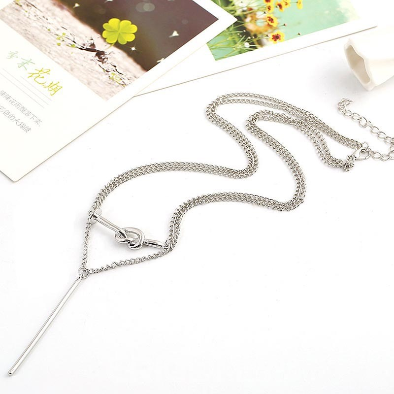 Ericdress Double Chain Alloy Love Knot Choker Necklace
