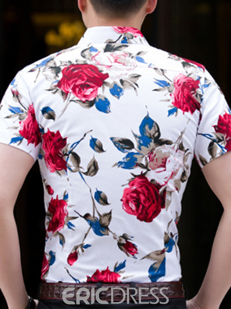 Ericdress Floral Print Plus Size Loose Mens Short Sleeve Shirts