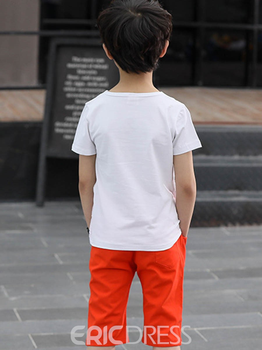 Ericdress Floral Printed T Shirt Plain Shorts Boy's Outfits
