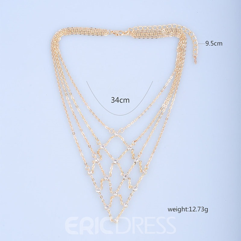 Ericdress Rhombus Cross Tiered Chain Necklace