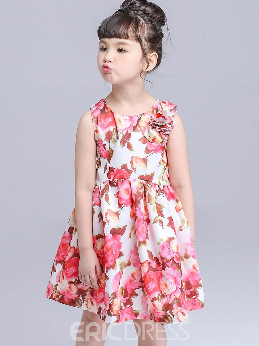 Ericdress Floral Print Pleated Lace Up Girl's Scoop Dress