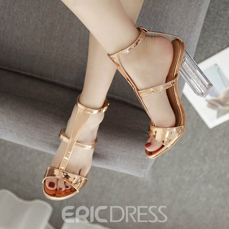 EricdressLuxrious T-Shaped Buckle Strappy Chunky Sandals
