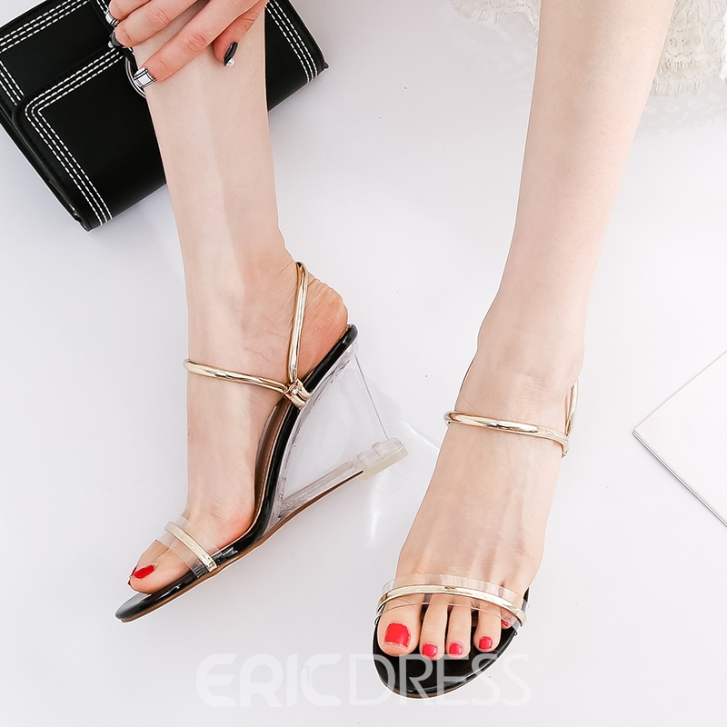 Ericdress Patchwork Slip-On Ankle Strap Wedge Sandals