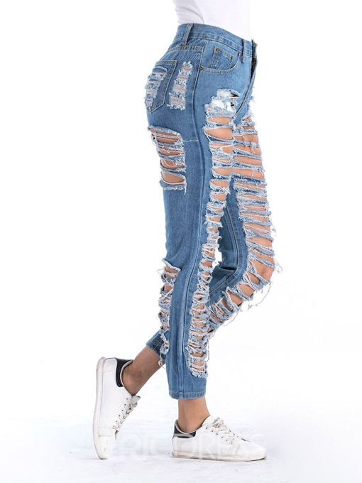 Ericdress Ripped Ankle Length Women's Jeans