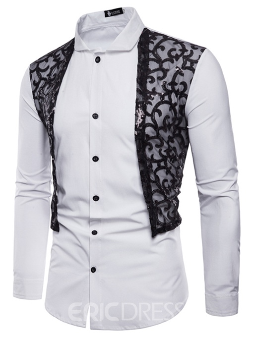 Men's Clothing Tops Patchwork Lace Slim Shirts