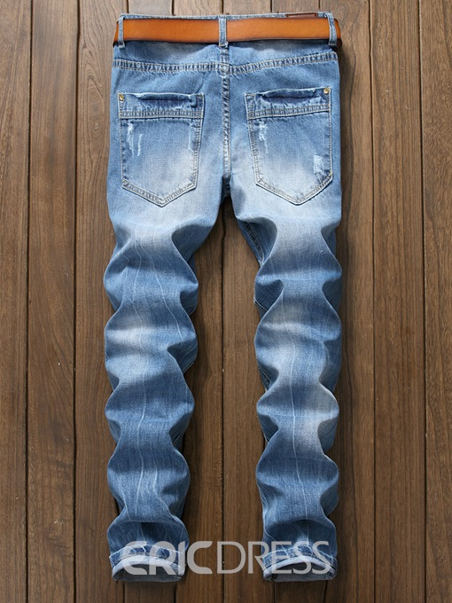 Ericdress Light Blue Straight Mens Ripped Jeans