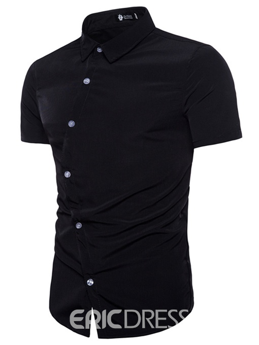 Ericdress Plain Lapel Slim Fit Button Mens Short Sleeve Shirts