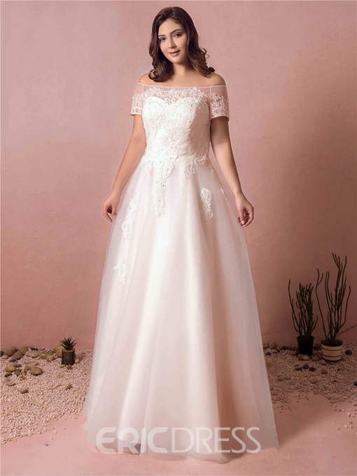 Ericdress Off the Shoulder Plus Size Wedding Dress