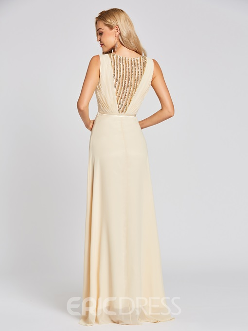 Ericdress V Neck Sequins A Line Evening Dress