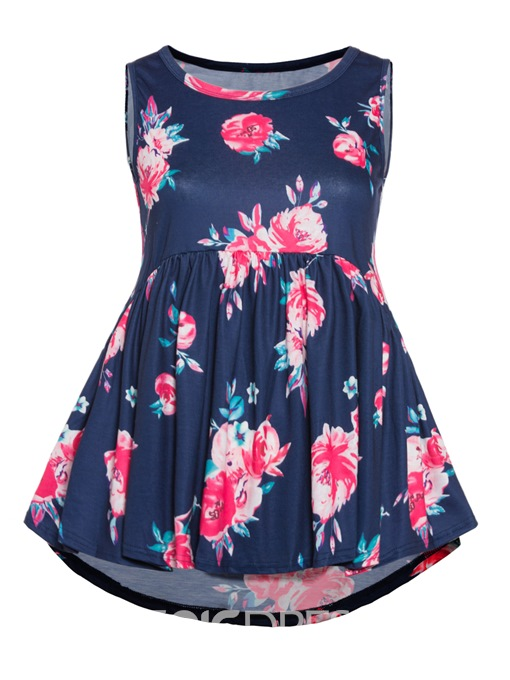 Ericdress Floral Round Neck Sleeveless Plus Size T-Shirt