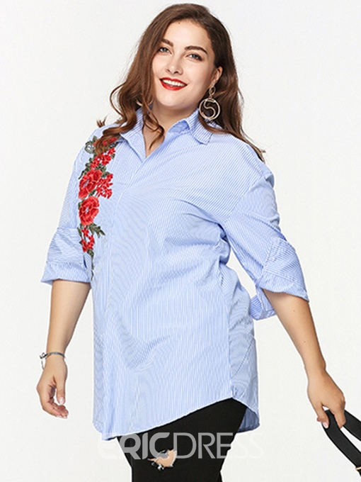 Ericdress Women's Plus-Size Embroidery Single-Breasted Blouse
