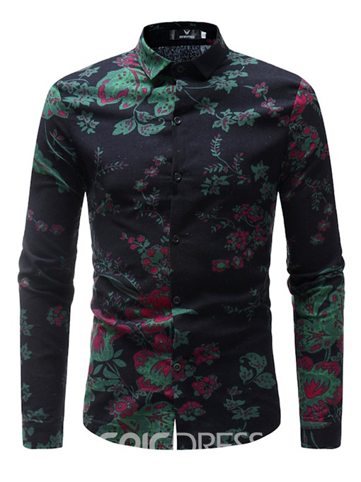 Men's Clothing Tops Green Slim Floral Printed Shirts