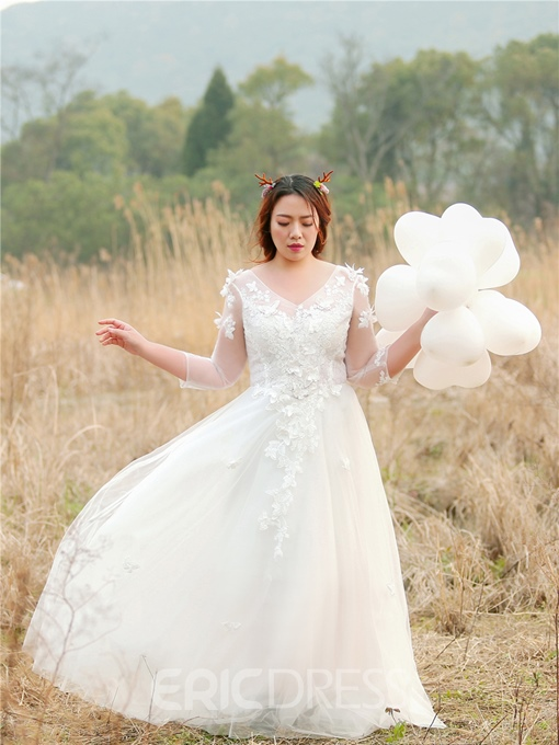 Ericdress 3/4 Length Sleeves Lace-Up Plus Size Wedding Dress