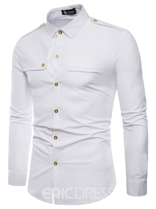 Ericdress Plain Lapel Slim Fitted Long Sleeve Mens Casual Dress Shirts