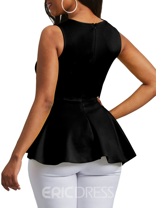 Ericdress Applique Peplum Zipper Up Sleeveless Women's Top