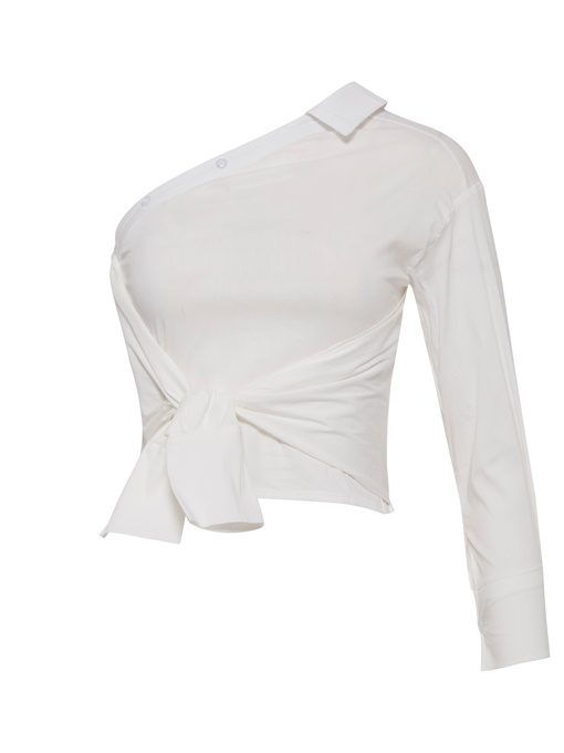 Ericdress One-Shoulder-Off Tie Front Top Women's Shirt