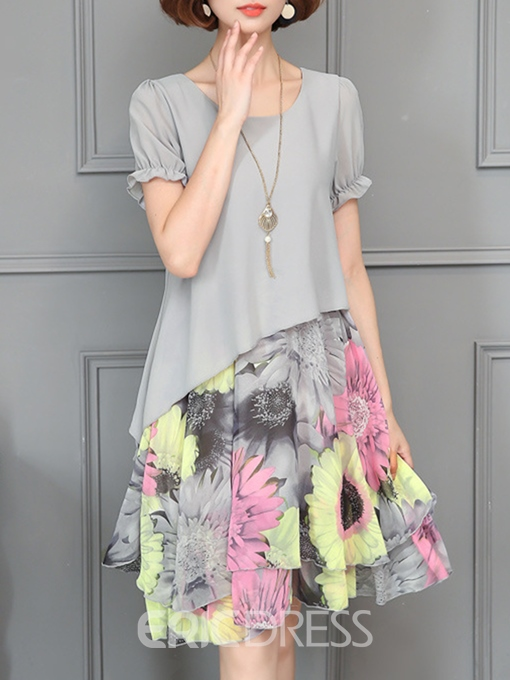 Ericdress Double-Layer Patchwork Print Sweet A-Line Dress