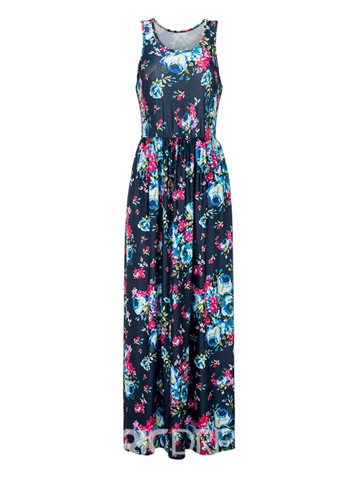 Ericdress Floral Ankle-Length Sleeveless A-Line Dress