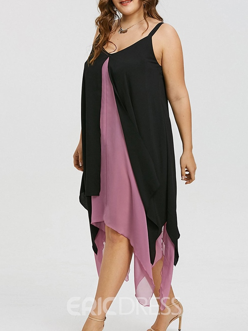 Ericdress V-Neck Double-Layer Asymmetric Patchwork Casual Dress