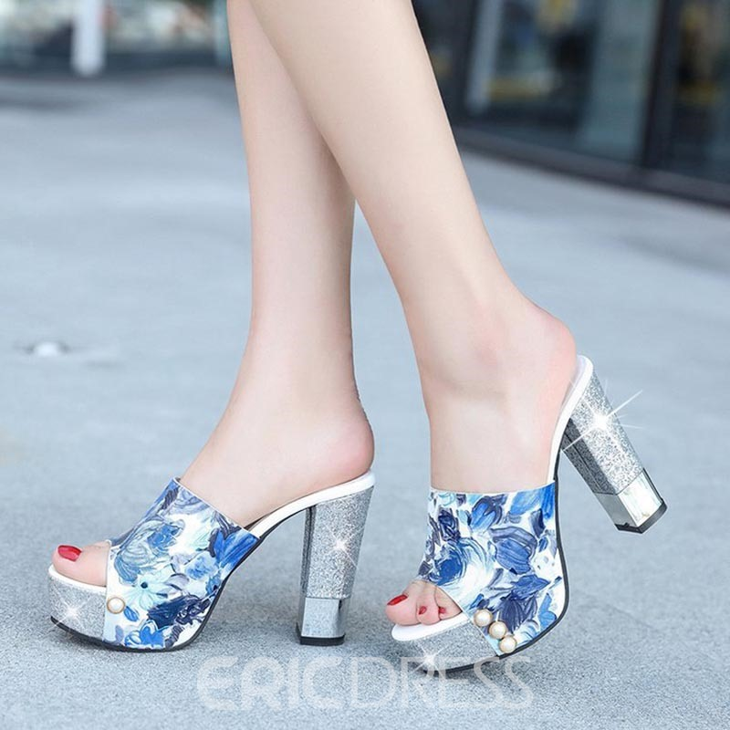 Ericdress Sequin Chunky Heel Mules Shoes with Beads