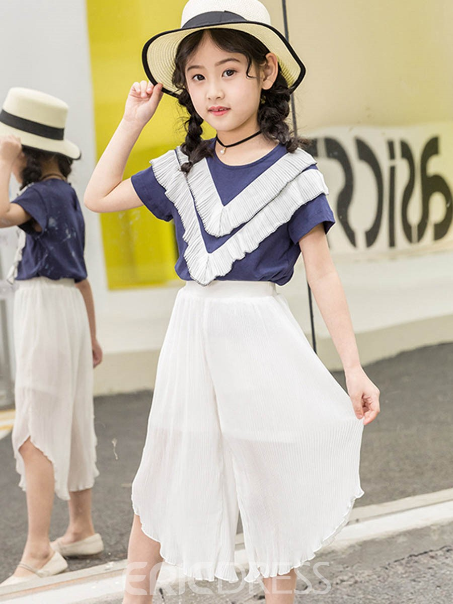 Ericdress Stripe Color Block T Shirt Mid Calf Pants Girl's Summer Outfits
