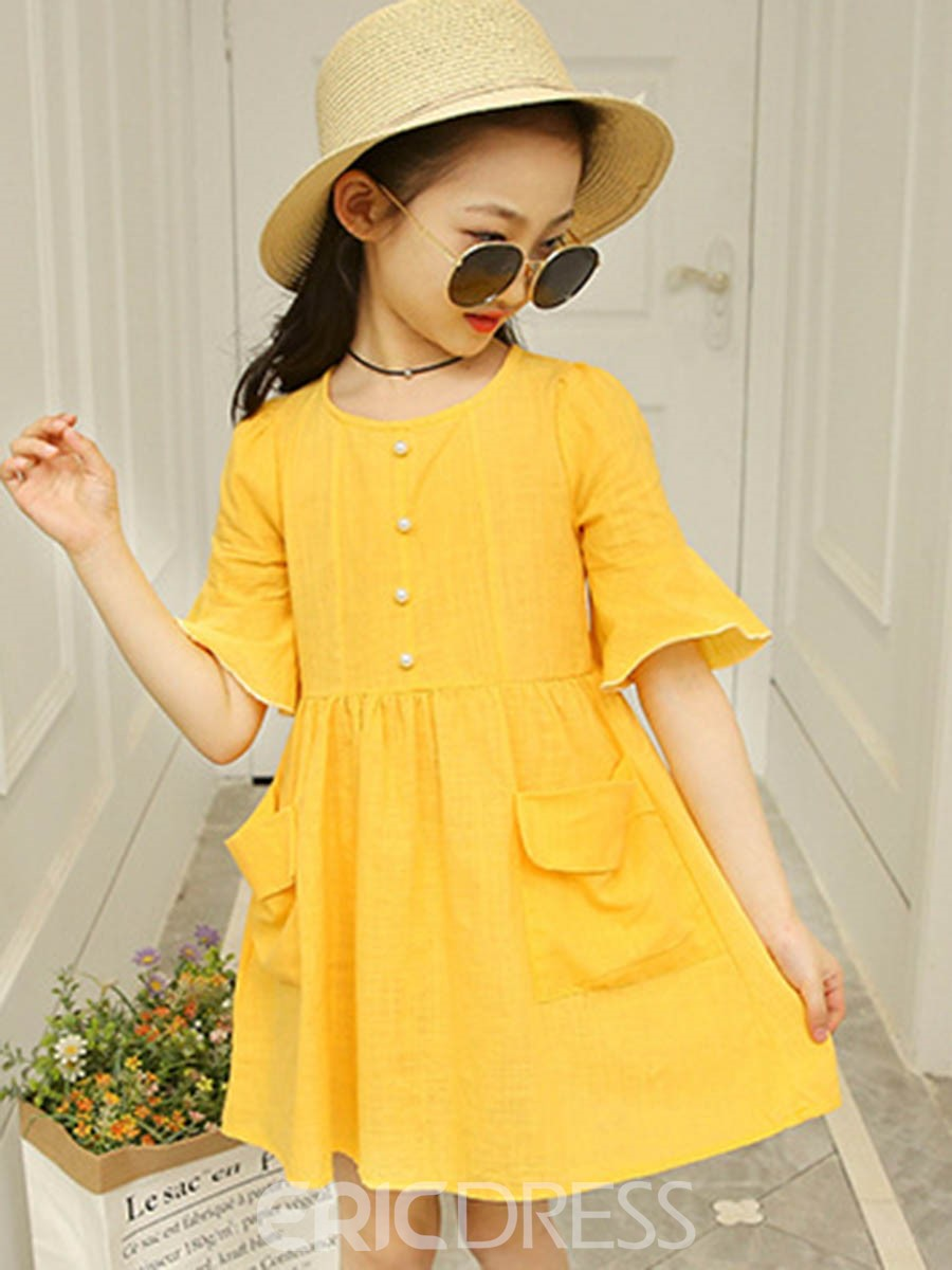 Ericdress Plain Flare Sleeve Girl's Scoop Casual Dress
