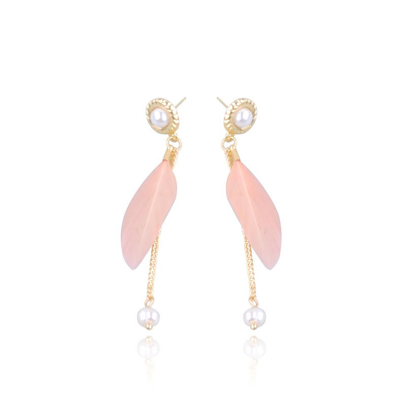 Ericdress Pink Feather Drop Earring