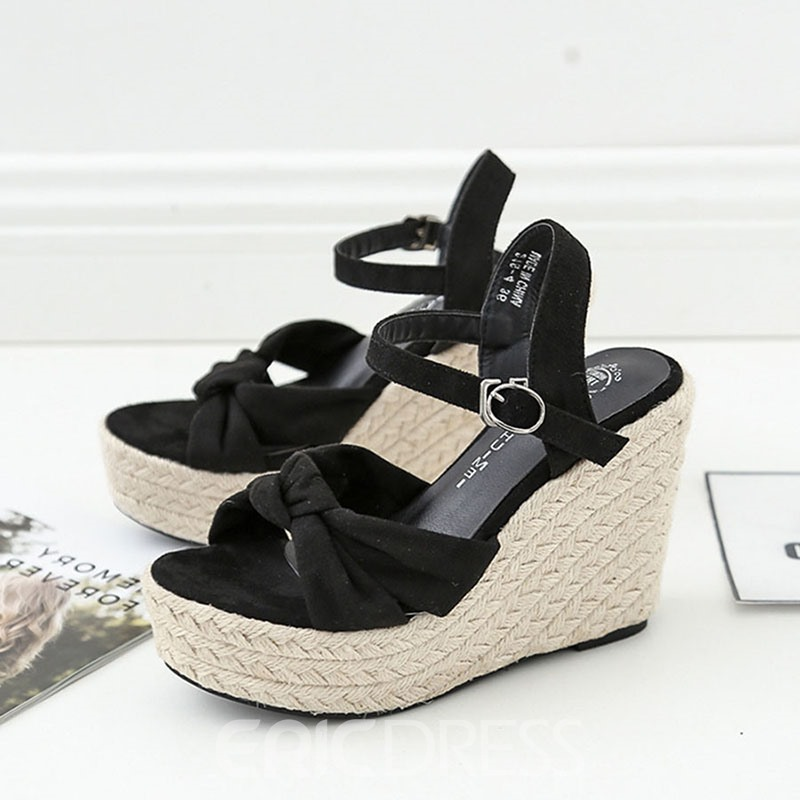 Ericdress Plain Platform Buckle Strappy Wedge Sandals