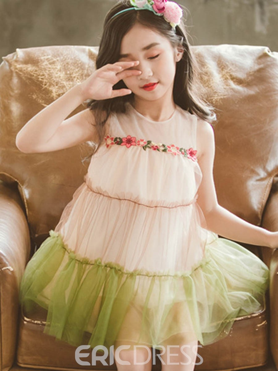 Ericdress Floral Print Color Block A-Line Girl's Casual Dress