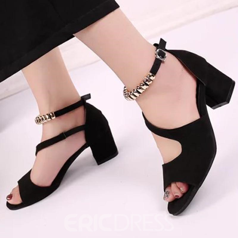 Ericdress Line-Style Buckle Peep Toe Chunky Sandals
