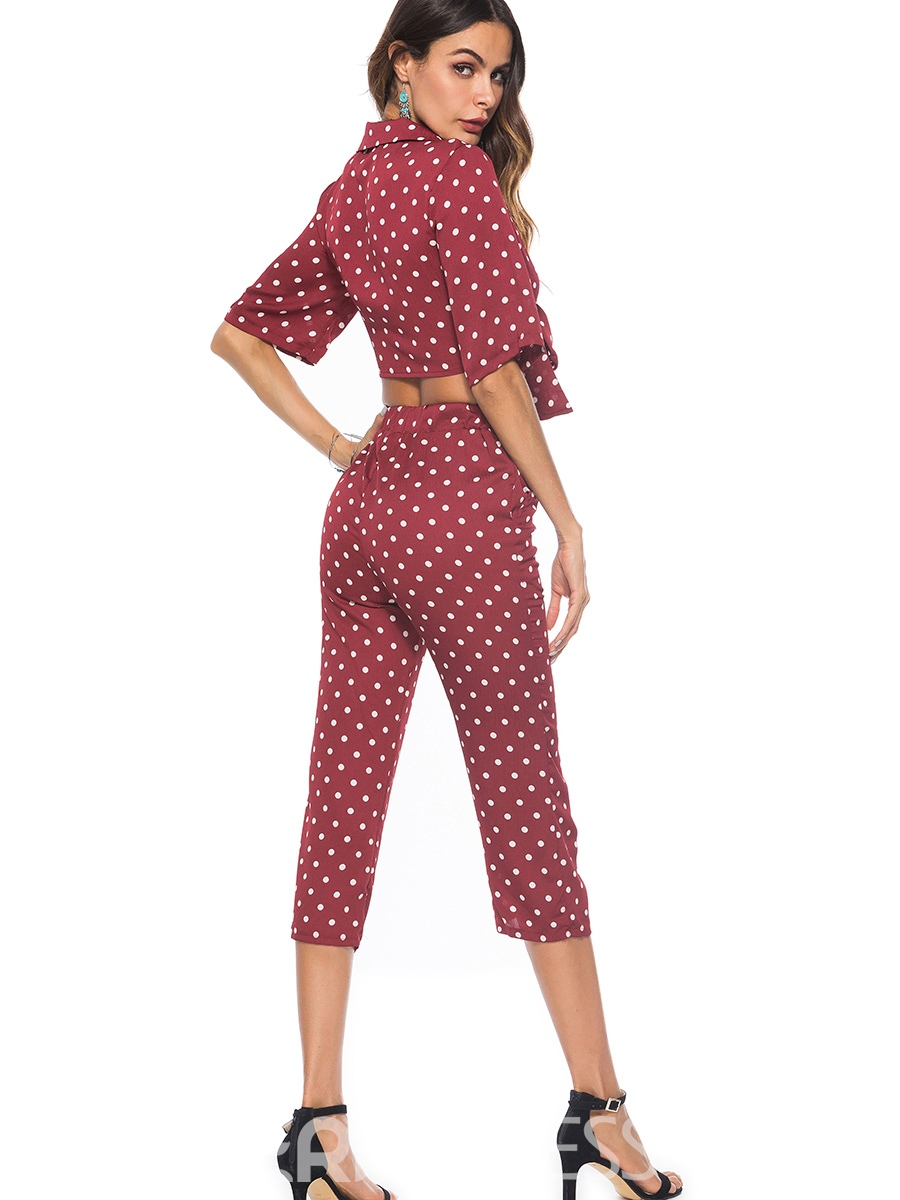 Ericdress Polka Dots Tops and Pants Women's Two Piece Set