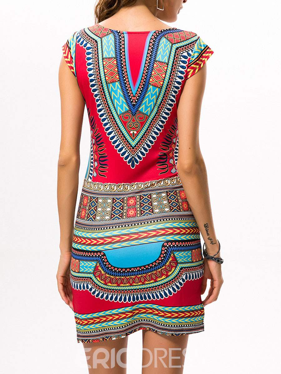 Ericdress Ethnic V-Neck Cap Sleeve Bodycon Dress